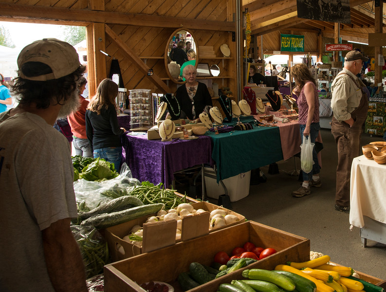 Vendors display fruit, vegetables, art and crafts for sale at the Tanana Valley Farmers Market in Fairbanks, Alaska.