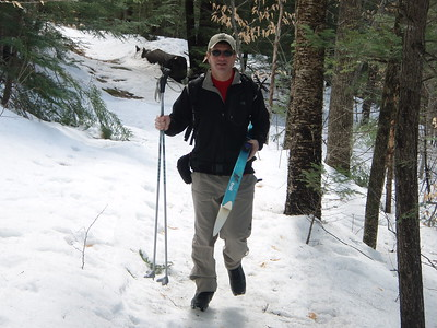We followed on foot Smart's Brook Trail for a short distance due to its steep grade and icy conditions.