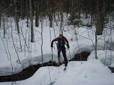 The snow bridges were gone so were left to our own methods to cross!