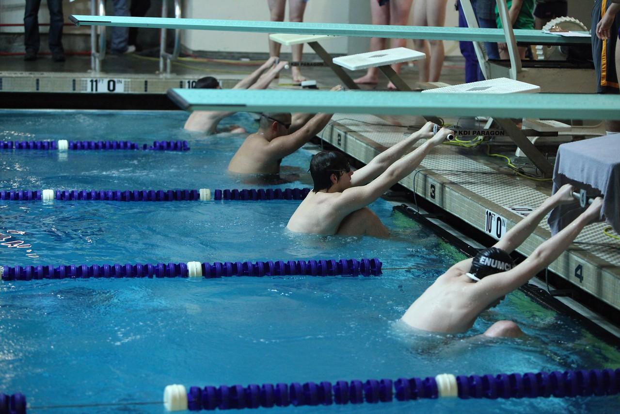 2013 AMHS Boys Swim vs Enumclaw; Auburn Riverside vs Auburn (Dec 12)