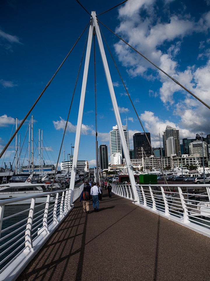 Folding bridge at the Viaduct  in Auckland, New Zealand