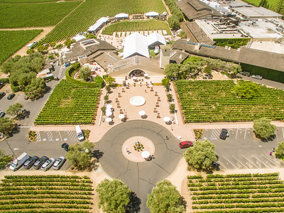 An overhead view of the Robert Mondavi Winery during the barrel auction.   Photo by Bob McClenahan for the Napa Valley Vintners