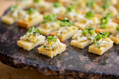 Tasty bites provided for guests at the Barrel Auction.  Briana Marie Photography for Napa Valley Vintners