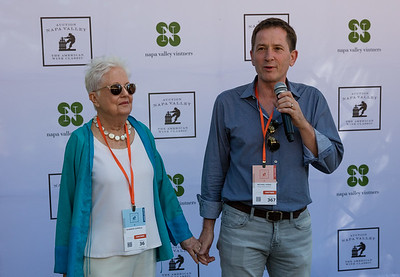 Auction Napa Valley board chair, Michael Honig introduce Eleanor Coppola at the media meet and greet. Photo ©2017 by Jason Tinacci / Napa Valley Vintners