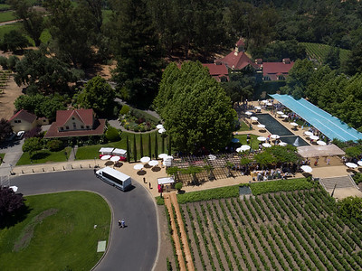 Aerial view of Inglenook during #auctionnapa Napa Valley Barrel Auction. Photo ©2017 by Jason Tinacci / Napa Valley Vintners