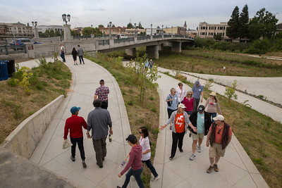 A group of guests walked along the Napa Vine Trail to visit the future site of the new Ole Health Community Clinic. Photo ©2017 by Jason Tinacci / Napa Valley Vintners