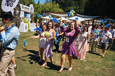 Angelina, Alycia, Giovanna and Riana Mondavi leading guests to the main tent to kick off the Live Auction - Auction Napa Valley Live Auction Celebration