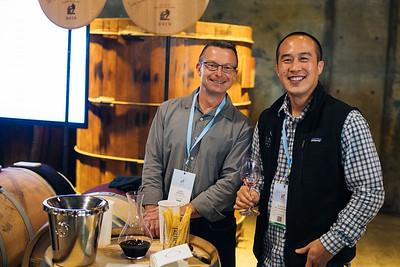 Jeff Keene of Mount Veeder Winery and Kurtis Ogasawara of Robert Mondavi Winery at the 2019 Napa Valley Barrel Auction