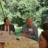 Mark Diel (L) of Children's Health Initiative seated with Bruce Cakebread at the vintner kickoff party.