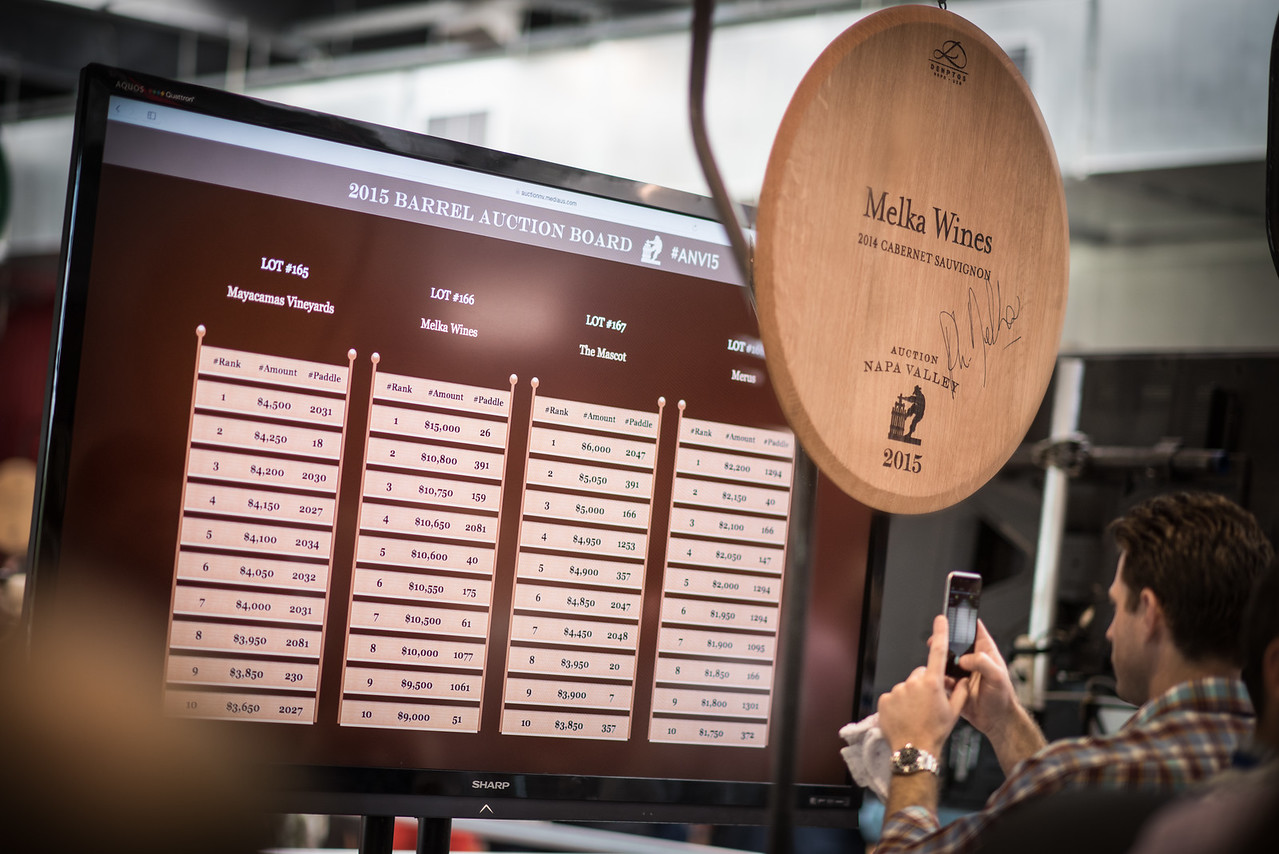 """Melka Wines was the top lot at the Napa Valley Barrel Auction. <br> <br> Photo by <a href=""""http://napasphotographer.com/"""">Bob McClenahan</a>"""