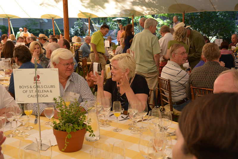 Vintners and representatives from Auction grant recipient agencies network during the vintner kickoff party.