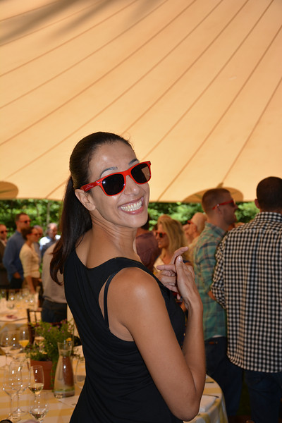 "Lisa Peju sports her ""Happy"" sunglasses at the vintner kickoff party."