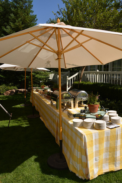 The bright and cheery buffet table set by Meadowood Napa Valley.