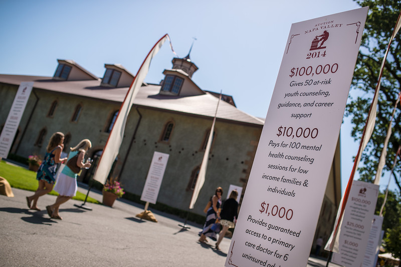 """Guests arriving at Charles Krug for the barrel auction.  Photo by <a href=""""http://napasphotographer.com/"""">Bob McClenahan</a> for Napa Valley Vintners."""