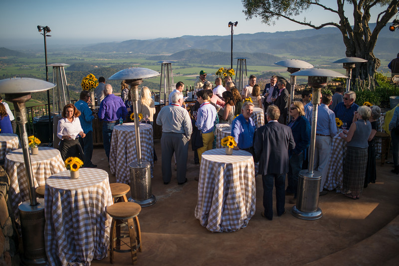 """Guests enjoying the views and the wines at Montagna during the Pritchard Hill party.  Photo by <a href=""""http://napasphotographer.com/"""">Bob McClenahan</a> for Napa Valley Vintners."""