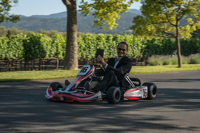 "Guests arrive in go carts at the St. Supery dinner party.  Photo by <a href=""http://napasphotographer.com/"">Bob McClenahan</a> for Napa Valley Vintners."