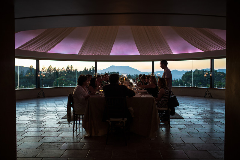"""The dinner table at Vineyard 7&8.  Photo by <a href=""""http://napasphotographer.com/"""">Bob McClenahan</a> for Napa Valley Vintners."""