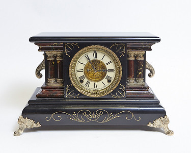 Black and Gold Marble Clock