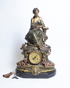 Bronze Lady Clock with Flowers