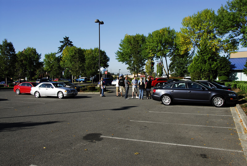 The caravan group meets up in Federal Way on Friday morning.