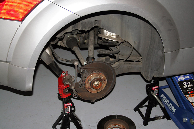 The rear brake assembly w/the rotor removed.  The rotors will be replaced w/Zimmerman Vented discs.
