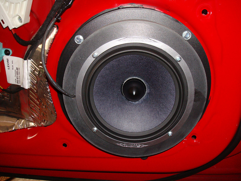 "Aftermarket speaker and custom made speaker adapters from  <a href=""http://www.car-speaker-adapters.com"">http://www.car-speaker-adapters.com</a> installed on door"