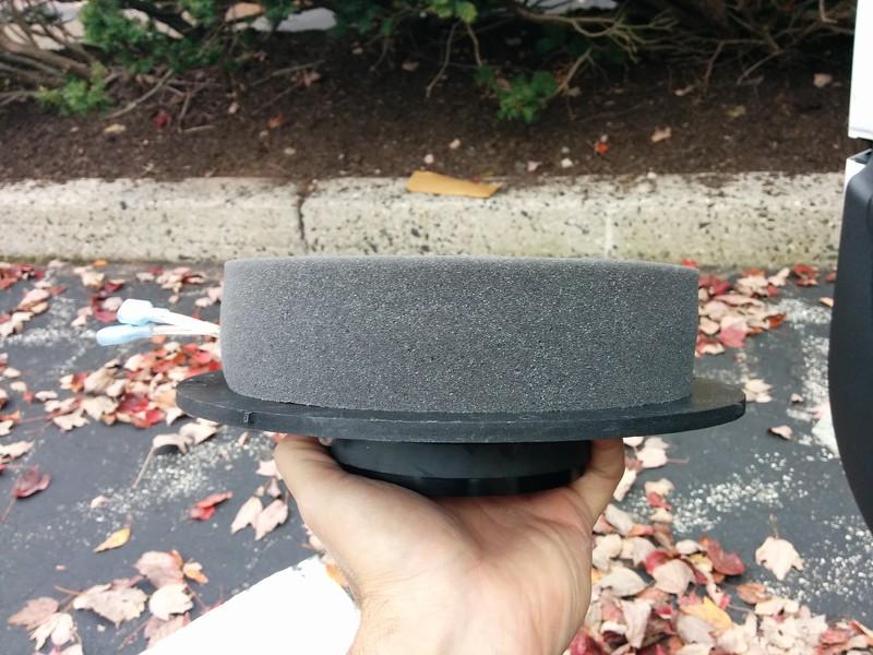 "Aftermarket speaker mounted to speaker adapter ring  from <a href=""http://car-speaker-adapters.com/items.php?id=SAK108""> Car-Speaker-Adapters.com</a>   (side view) .  Foam sealer installed."