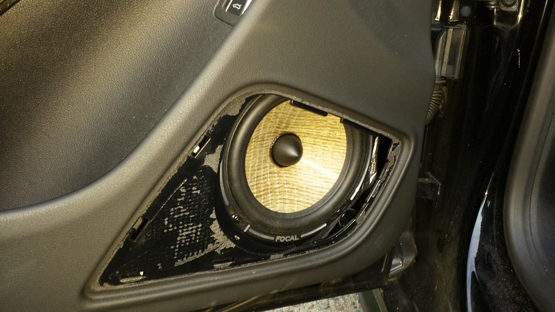 Grill removed.  Aftermarket speaker shown.