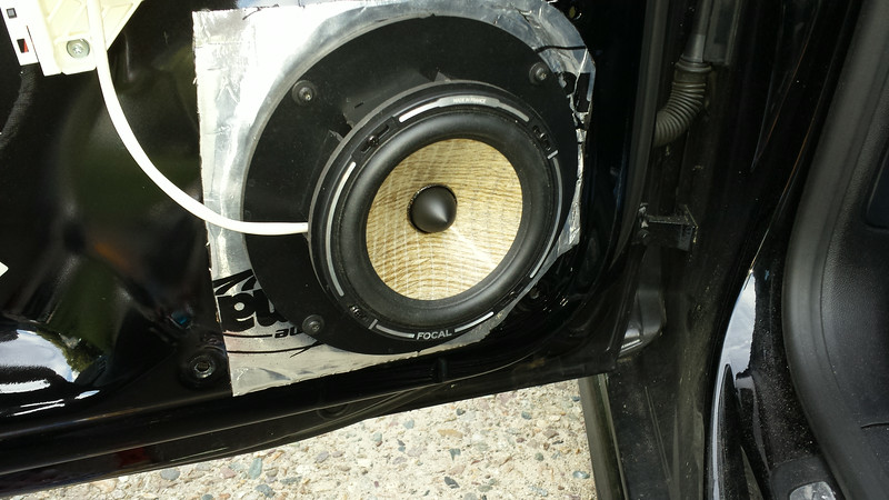"""Aftermarket speaker and speaker adapter from    <a href=""""http://www.car-speaker-adapters.com/items.php?id=SAK108""""> Car-Speaker-Adapters.com</a>   installed on door.  Dynamat installed."""