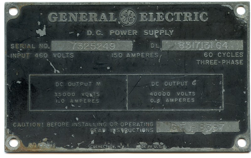 Label from  power suppies that were the source for many of the parts