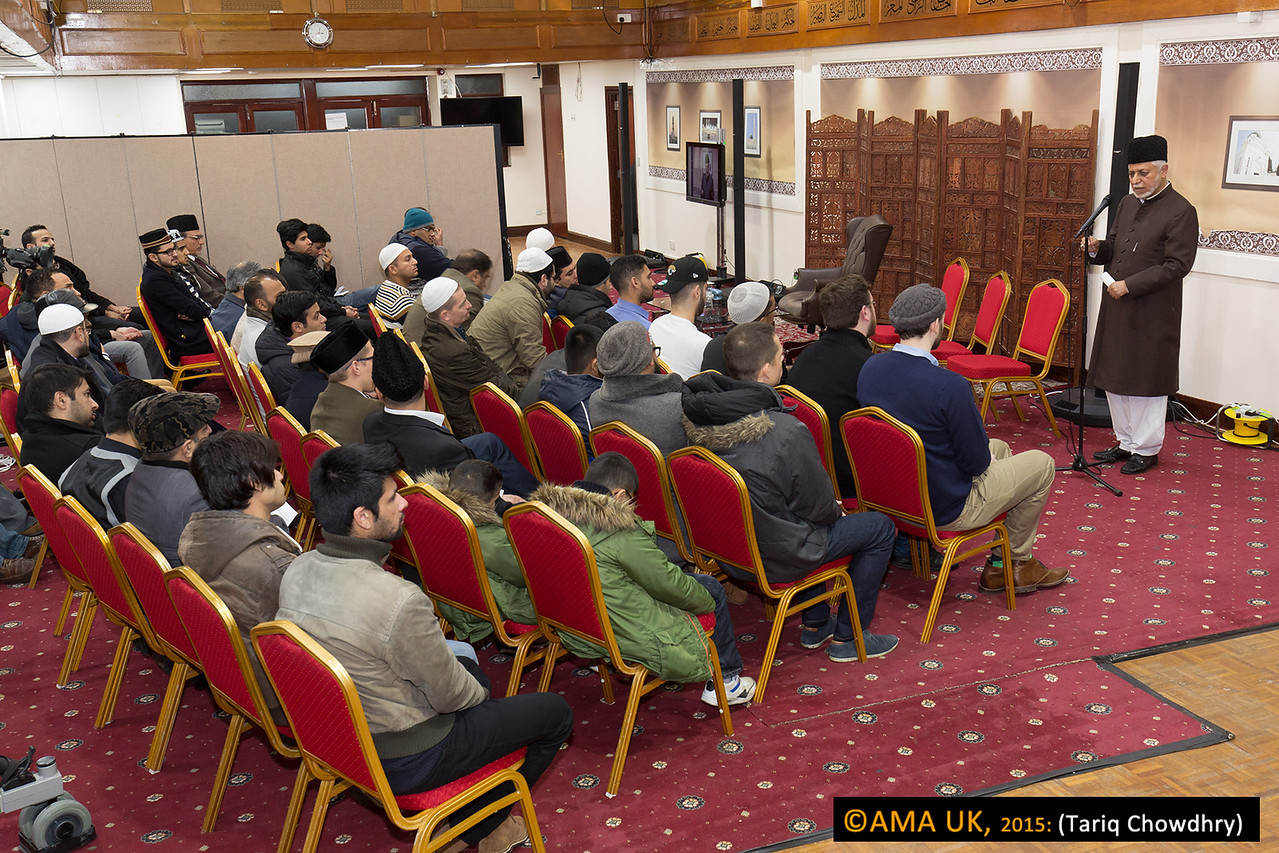 """Maulana Ataul Mujeeb Rashed, then delivered a speech on the """"The blessings of being a New Ahmadi""""."""