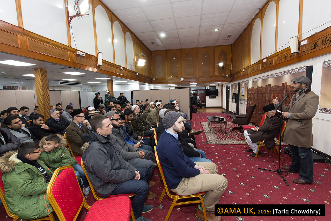 """Before Huzur's arrival, the second session began at 2.15 pm with a speech by Mr. Hamza Ilyas. He is from New York USA, and converted in 2004 before migrating to the UK two years ago.  Mr. Hamza's speech was on """"Love and Sincerity – an exposition of the journey of a convert""""."""