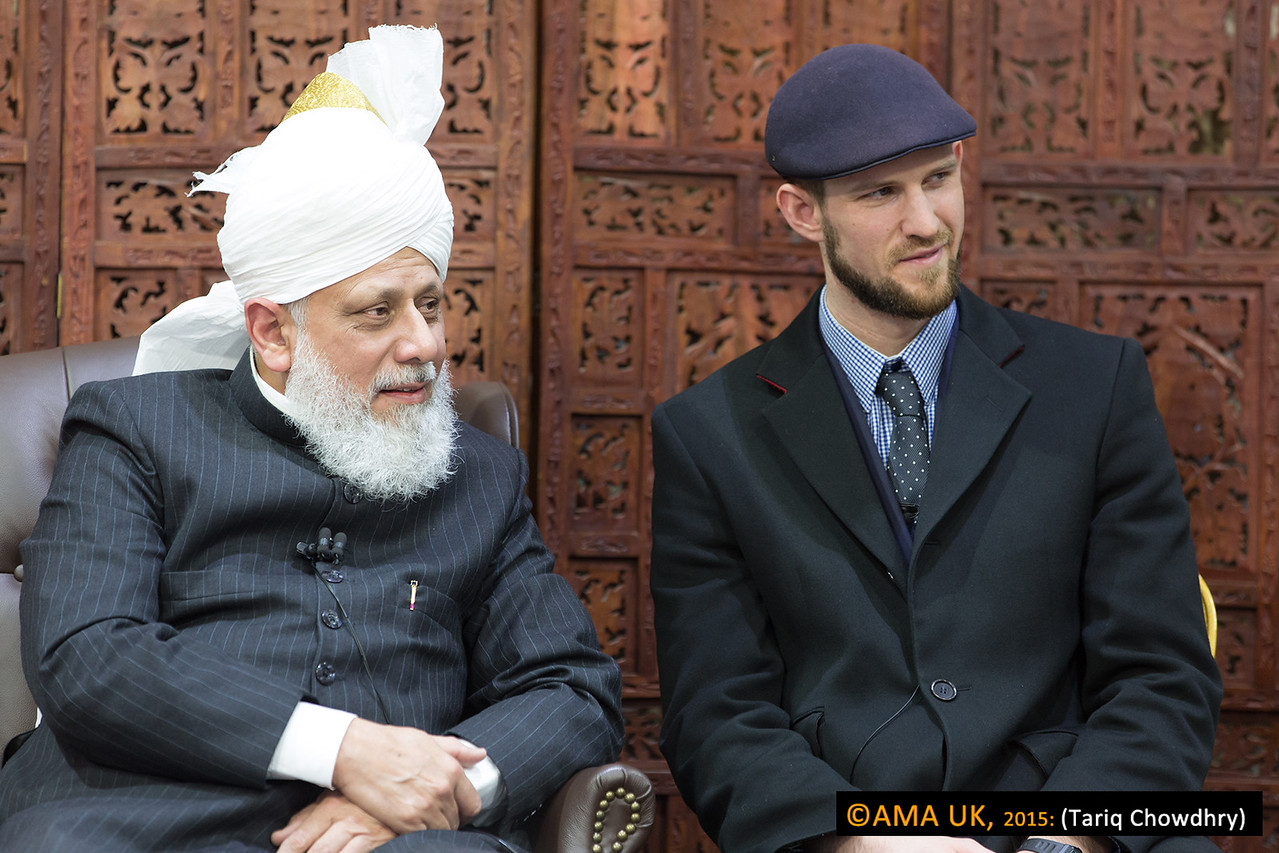 Then Mr Butterworth, Head of the Dept (and sat next to Huzur Aqdas(aba) above,  gave a brief report and introduced some of the very recent new converts to Hudhur Aqdas.