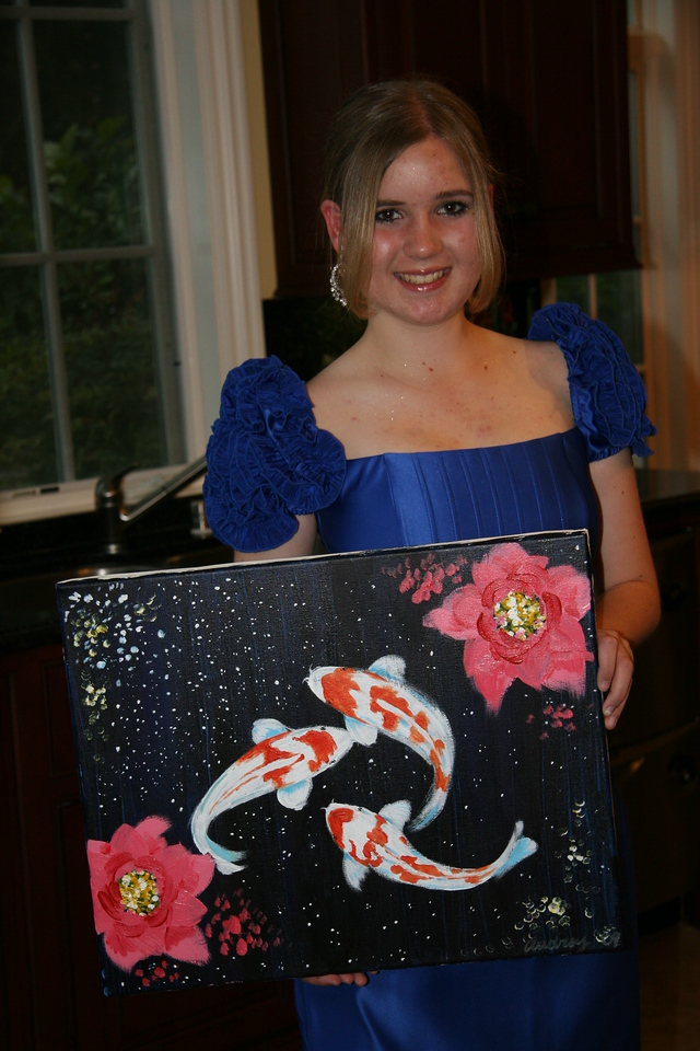 Ali loves koi fish, so as a gift Audrey painted this acrylic painting of koi fish for Ali