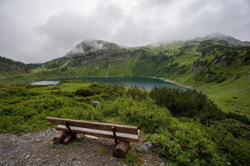 Aussicht über den Formarinsee, Vorarlberg, Österreich