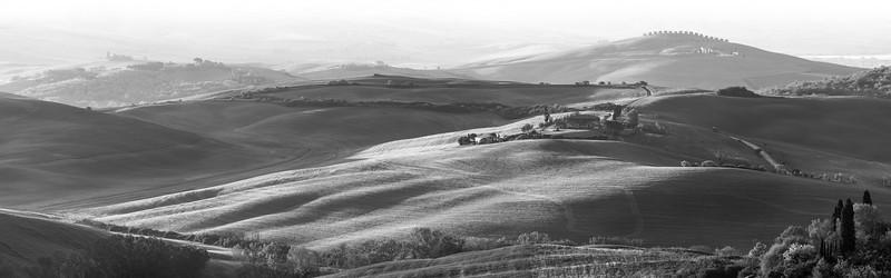Toskanische Hügellandschaft, Val d'Orcia, San Quirico d'Orcia, Toskana, Italien