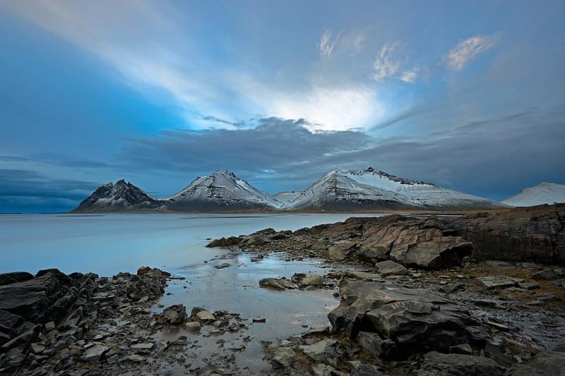 Island, Skardsdalur, Fjord, Berg, Gletscher, Himmel, Wolken