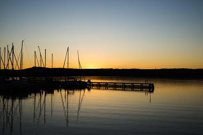 Sonnenuntergang am Ammersee, Bayern, Deutschland