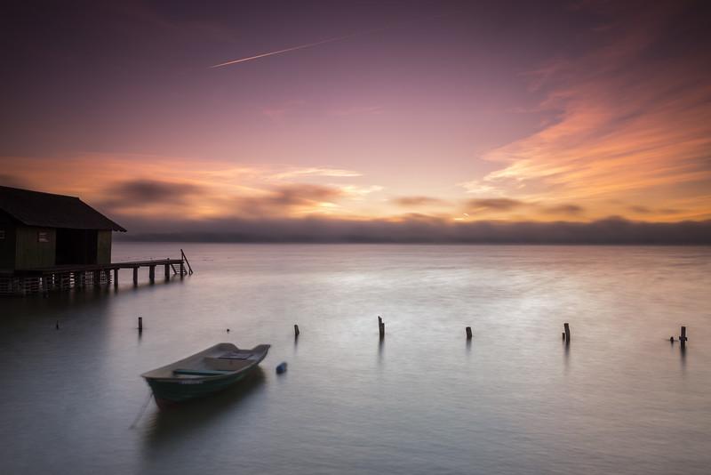 Sonnenaufgang am Ammersee, Dießen, Oberbayern, Bayern, Deutschland