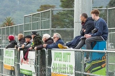 Images taken of the football Match between Lower Hutt City (Orange) and Upper Hutt City (Maroon) played at at Maidstone Park, Upper Hutt, Wellington, New Zealand on Saturday 1 August 2020. Score: Lower Hutt 4 - Upper Hutt 0 Copyright John Mathews 2020 www.megasportmedia.co.nz