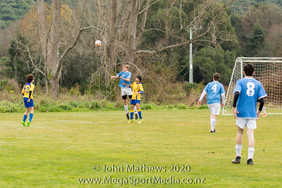 Images taken of the Division 3 football match between St Patrick's College Silverstream (Blue) and Rongotai College (Yellow) played at at Patrick's College Silverstream, Wellington, New Zealand on Saturday 1 August 2020. Copyright John Mathews 2020 http://www.megasportmedia.co.nz