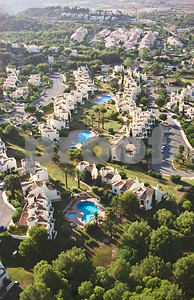 Aerial shot of El Rancho community and pool areas, 28th August 1997