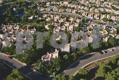 Aerial shot of Los Molinos villas and pool, overlooking El Rancho community, 28th August 1997