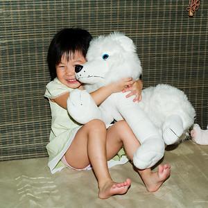 Alexis hugging Snowy