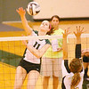 Zionsville's Maren Braun gets a kill against Noblesville Thursday Aug. 30.<br /> <br /> Photo by Keith Shepherd/For the Time Sentinel