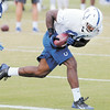 Don Knight | The Herald Bulletin<br /> Tight end Erik Swoope pulls in a pass during Colts practice at AU on Friday. For a gallery of photos to view or purchase, visit photos.heraldbulletin.com.