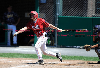 8/4/2016 Mike Orazzi | Staff Bristol American Legion's Richard Lemke (5) during a win over Vermont in the American Legion Eastern Regional Baseball Tournament at Muzzy Field Thursday afternoon.
