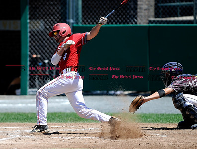 8/4/2016 Mike Orazzi | Staff Bristol American Legion's Greg Lozier (4) during a win over Vermont in the American Legion Eastern Regional Baseball Tournament at Muzzy Field Thursday afternoon.