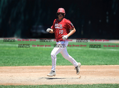 8/4/2016 Mike Orazzi | Staff Bristol American Legion's Andrew Owsianko (10) during a win over Vermont in the American Legion Eastern Regional Baseball Tournament at Muzzy Field Thursday afternoon.