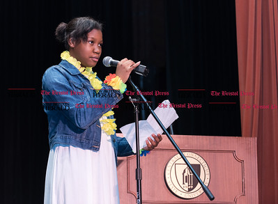 080416  Wesley Bunnell | Staff  Kimberly Holder-Callander read her poem titled The Islands about her Caribbean heritage. The CCSU ConnCAP Closing Ceremony was held on Thursday evening at Torp Theatre on the CCSU campus.